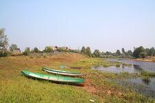 Boats On Coast River Stock Photos