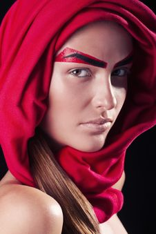 Red Eyebrows On The Person Of The Young And Beauti Stock Photo