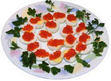 Caviar On Quail Eggs Isolated On White Royalty Free Stock Photos