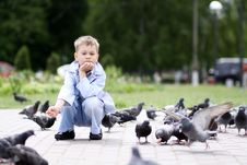 Free Boy And Street Doves Royalty Free Stock Images - 15651919