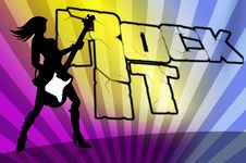 Free Rock Girl Silhouette Colourfull Background Royalty Free Stock Photos - 15651978