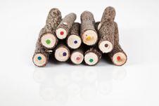Free Coloured Handmade Original Bark Pencils. Royalty Free Stock Photos - 15653328