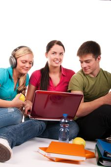 Free Group Of Students Having Fun, Doing Home Work Stock Image - 15655931