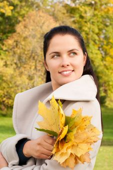 Free Young Woman In The Autumn Park Royalty Free Stock Photography - 15655947