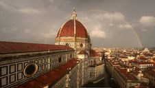 Free Double Rainbow Behind Duomo Florence Stock Image - 15657121