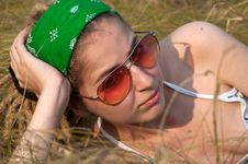 Young Woman On The Grass Royalty Free Stock Photos
