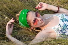 Young Woman On The Grass Stock Images