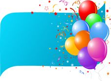Free Blue Card With Colorful Balloons Royalty Free Stock Photo - 15658995