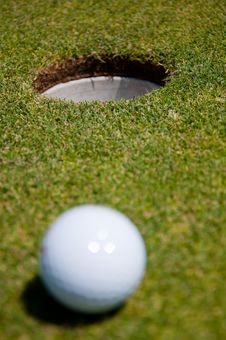 Golf Hole With Ball Royalty Free Stock Photos