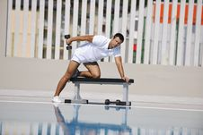Free Young Man Exercise At Poolside Stock Photography - 15659422