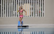 Free Fitness Exercise At Poolside Stock Image - 15659841