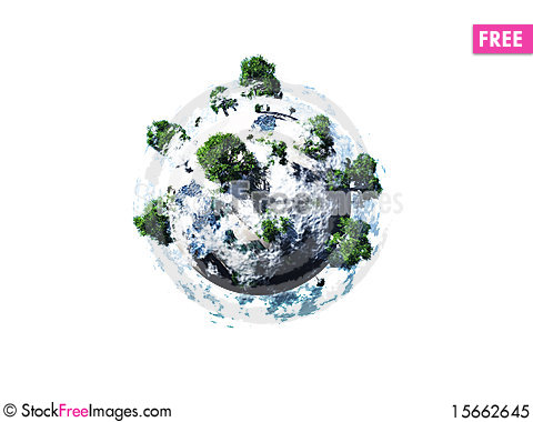 Free Small Rock With Trees Isolated On White Royalty Free Stock Photo - 15662645