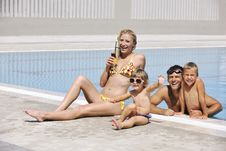 Free Happy Young Family Have Fun On Swimming Pool Stock Images - 15660404