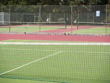 Tennis Courts In Outdoor Leisure Cednter Stock Photo