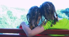 Free Sisters Sitting On Park Bench Royalty Free Stock Photos - 15661508