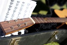 Free Fret Board Of Guitar With Music Stock Photography - 15661712