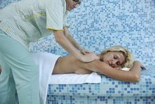 Woman Back Massage Stock Image