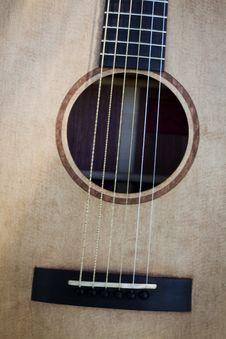 Free Acoustic Guitar Bridge And Sound Hole Stock Image - 15661791
