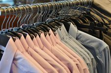 Shirt In Row In Shop Royalty Free Stock Photos