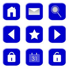 Icons For Website And Internet (Blue 1) Royalty Free Stock Photo