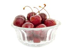 Free Cherries On Glass Bowl Isolated Royalty Free Stock Photo - 15663115