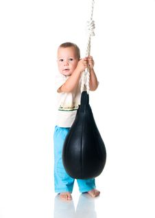 Free Little Boy With The Punching Bag Stock Photo - 15663120