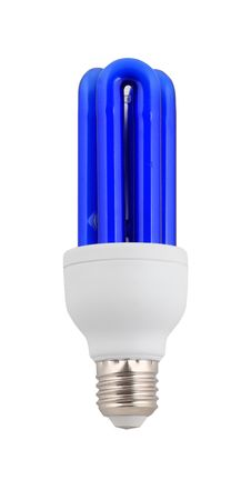 Compact Blue Fluorescent Lamp. Isolated On White Royalty Free Stock Photos