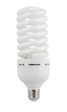 Compact Fluorescent Lamp. Isolated With Path Stock Photos