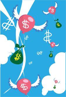 Free Money Bag Flies Into Your Bank Account Stock Image - 15663741