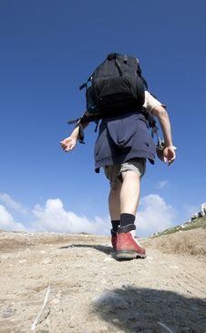 Free Man Trekking In Mountains Royalty Free Stock Photo - 15664445