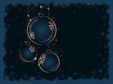 Christmas Yellow Balls On Dark Blue Background Stock Photo