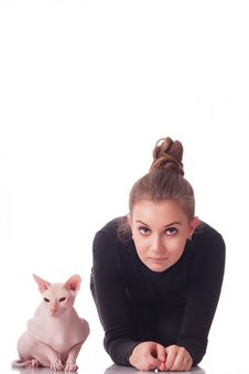 Free Woman With A Cat Stock Photography - 15667062