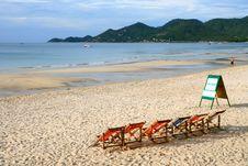 Free Beach Chair On The White Sand Beach Stock Photos - 15667303