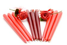 Free Red Candle With Rose Royalty Free Stock Photos - 15668338