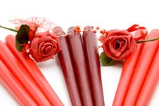 Free Red Candle With Rose Stock Photo - 15668390