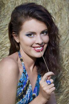 Free Beautiful Girl Near Haystacks Stock Image - 15669241