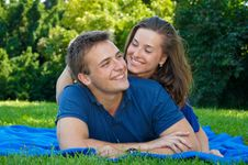 Attractive Young Couple In Nature Stock Images