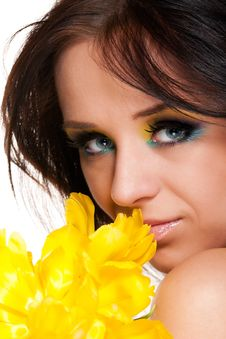 Free Girl With Tulip Stock Image - 15670471