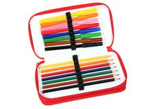 Free Colored Pencils In A Case Royalty Free Stock Photo - 15671375