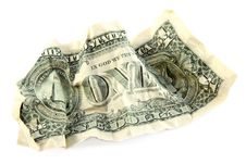 Free Crumpled One American Dollar Stock Photography - 15671542