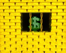Free Dollar In Gold Cage Stock Image - 15672691