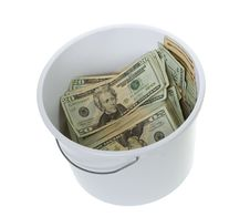 Free Twenty Dollar Bills In White Cleaning Bucket Stock Photography - 15672972