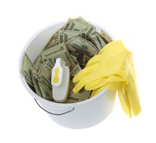 Free US Currency In Bucket, Scrub Brush, Gloves Stock Image - 15672981