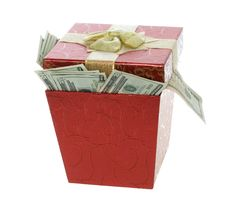 Free Twenty Dollar Bills Coming Out Of A Red Gift Box Royalty Free Stock Photo - 15673065