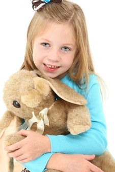 Beautiful Girl With Bunny Stock Photography