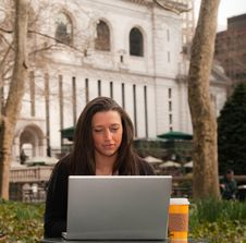 Free Woman With A Computer In A Park Stock Photo - 15673660
