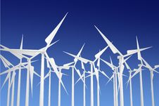 Free White Wind Turbines Stock Images - 15676024