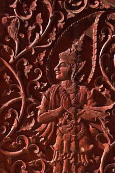 Free Angel In Native Thai Style Wood Carving Stock Photo - 15678220
