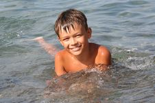 Free Happy Boy In The Sea Royalty Free Stock Image - 15678356