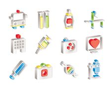 Medicine And Healthcare Icons Stock Image
